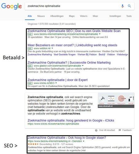 Bovenaan in Google zoekresultaten