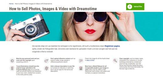Geld verdienen met foto's bij Dreamstine